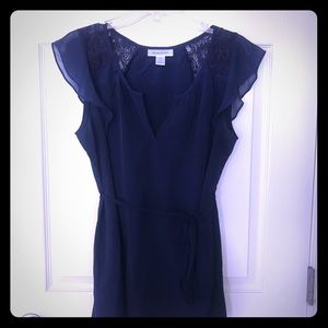 Navy Lace Maternity Blouse